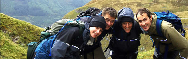 Charity 3 Peaks Challenge team ascending Ben Nevis via the 'Tourist route'