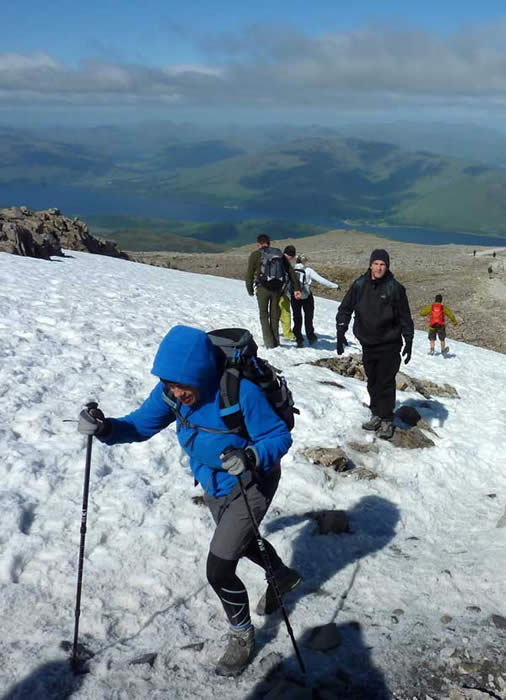Snow covers the highest points on Ben Nevis during most parts of the year