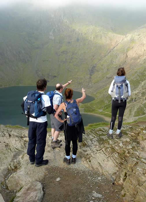 Ovelooking the lake at the bottom of Snowdon
